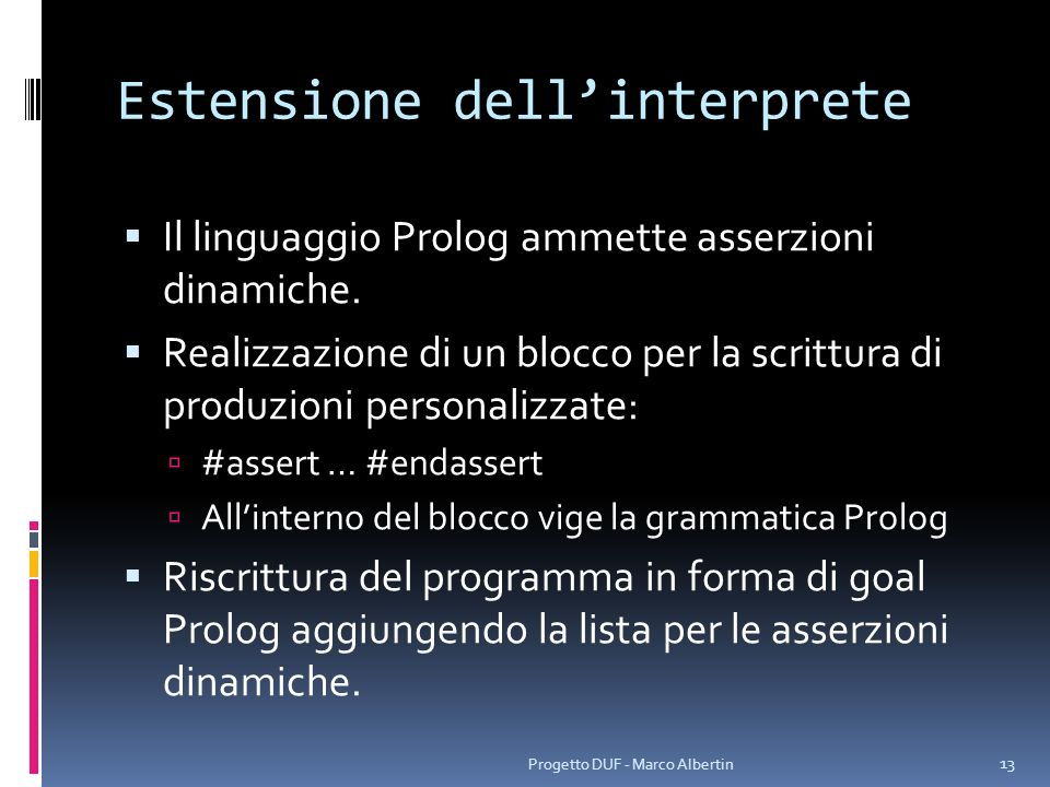Estensione dell'interprete