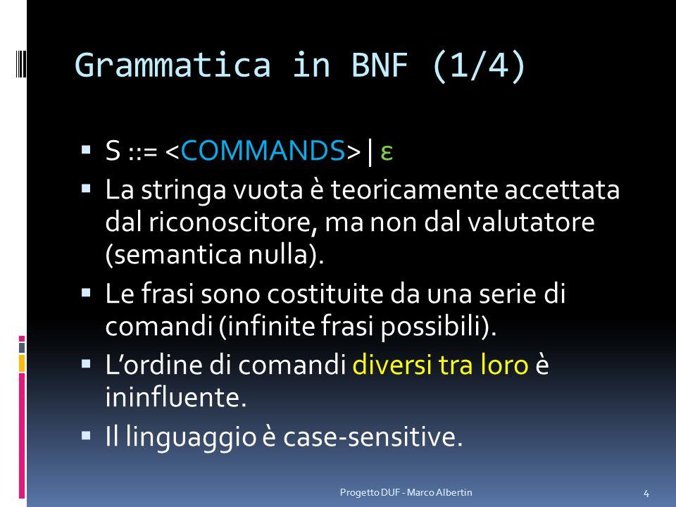 Grammatica in BNF (1/4) S ::= <COMMANDS> | ε