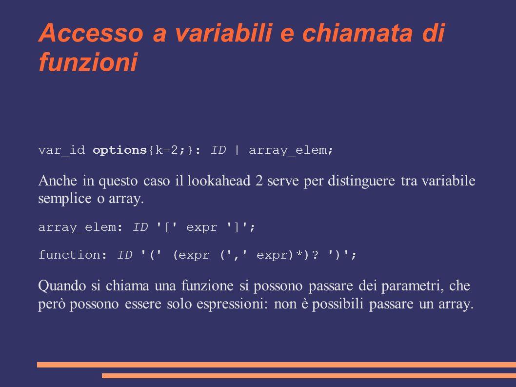 Accesso a variabili e chiamata di funzioni