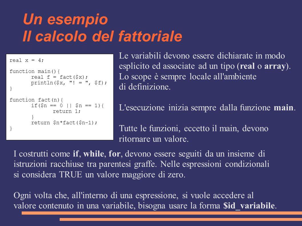 Un esempio Il calcolo del fattoriale