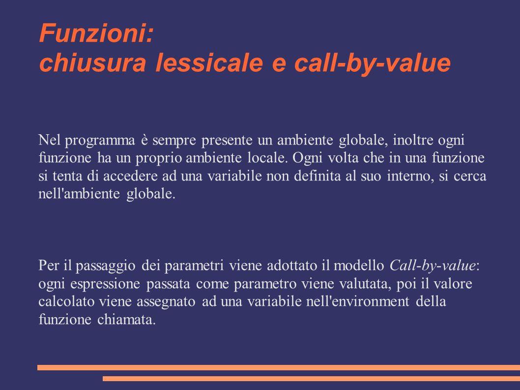 Funzioni: chiusura lessicale e call-by-value