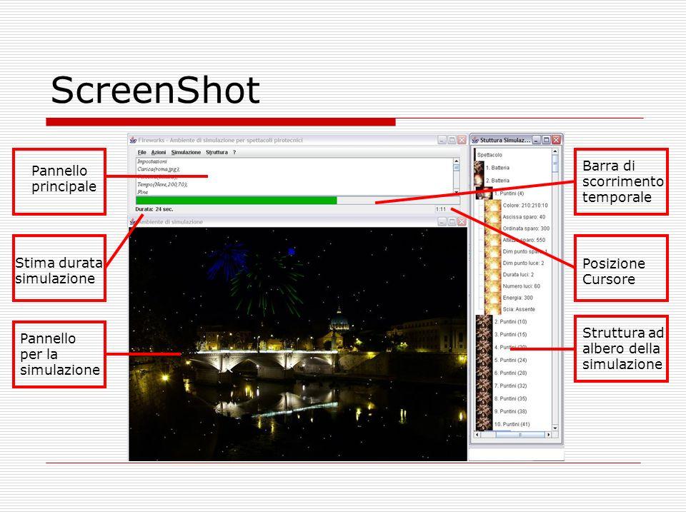 ScreenShot Barra di scorrimento temporale Pannello principale