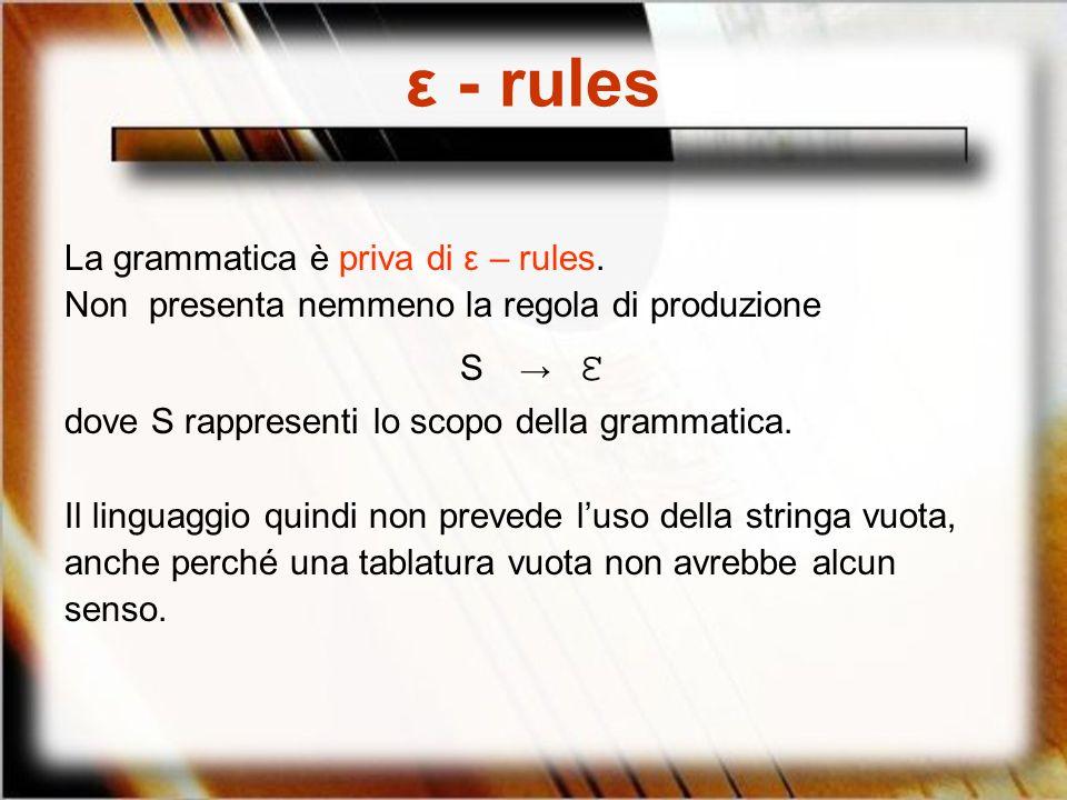 ε - rules La grammatica è priva di ε – rules.