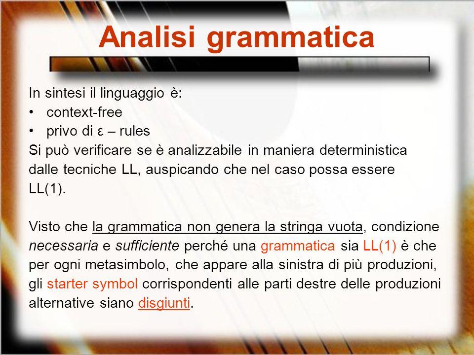 Analisi grammatica In sintesi il linguaggio è: context-free