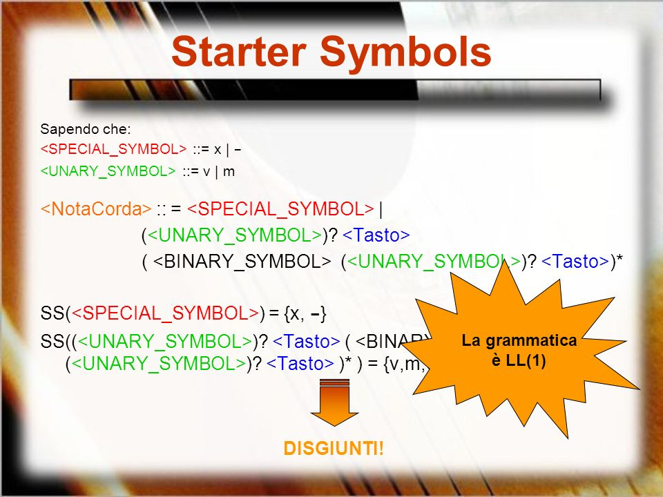 Starter Symbols <NotaCorda> :: = <SPECIAL_SYMBOL> |