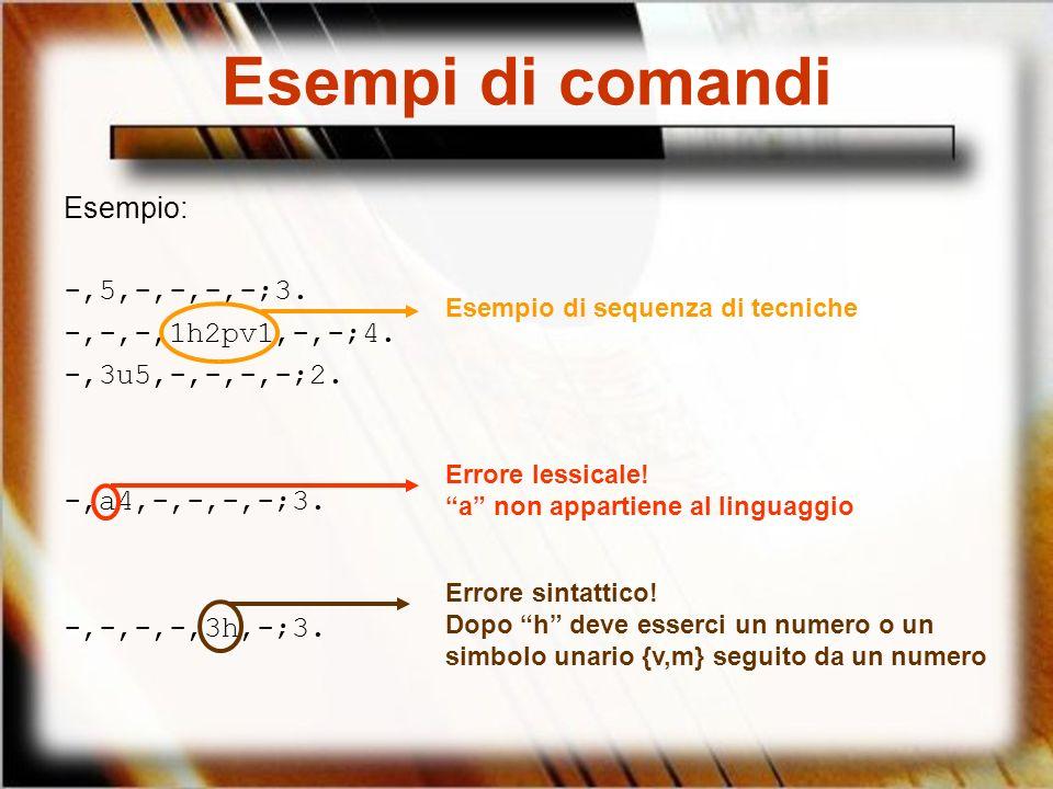 Esempi di comandi Esempio: -,5,-,-,-,-;3. -,-,-,1h2pv1,-,-;4.