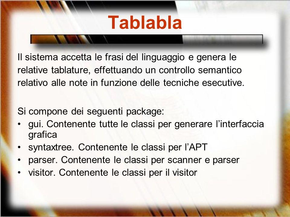 Tablabla Il sistema accetta le frasi del linguaggio e genera le