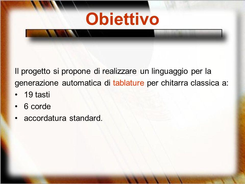 Obiettivo Il progetto si propone di realizzare un linguaggio per la
