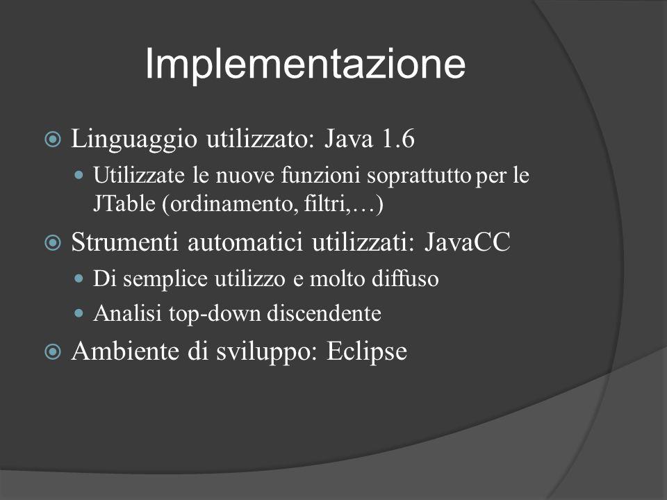 Implementazione Linguaggio utilizzato: Java 1.6