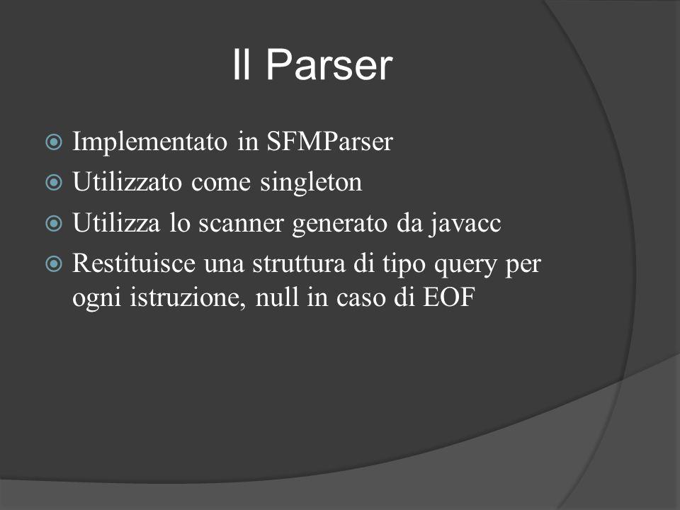 Il Parser Implementato in SFMParser Utilizzato come singleton
