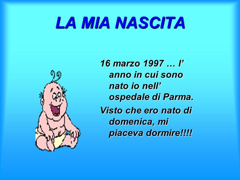 LA MIA NASCITA16 marzo 1997 … l' anno in cui sono nato io nell' ospedale di Parma.