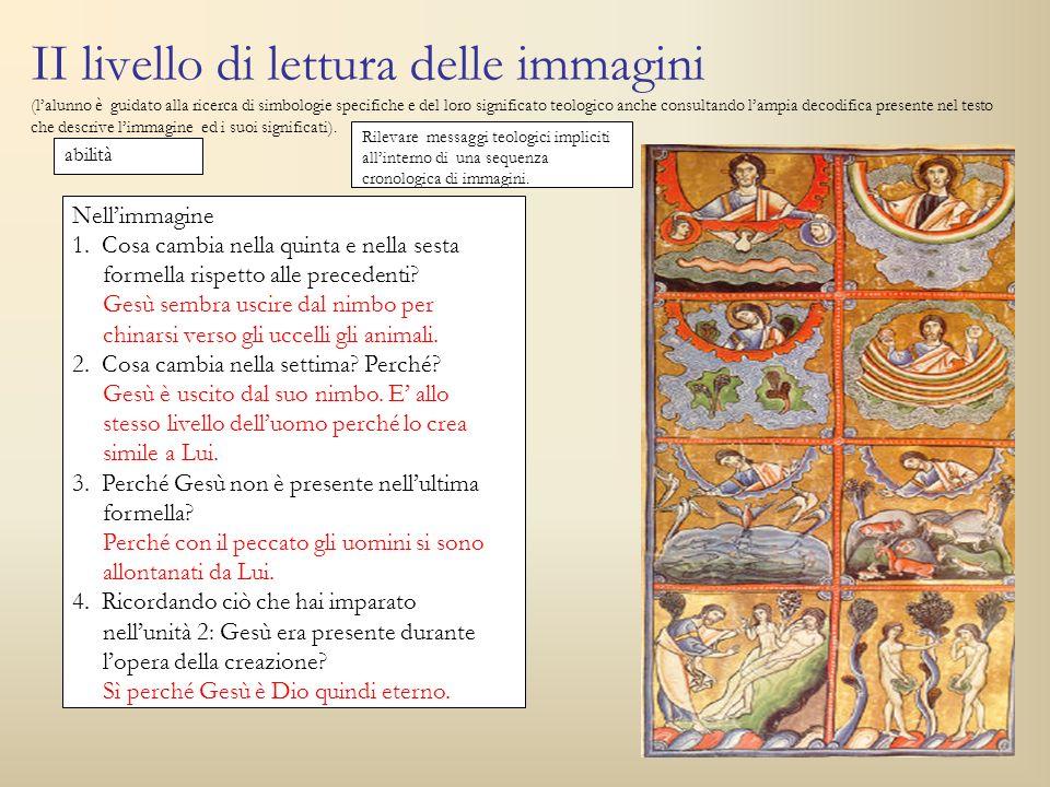 II livello di lettura delle immagini (l'alunno è guidato alla ricerca di simbologie specifiche e del loro significato teologico anche consultando l'ampia decodifica presente nel testo che descrive l'immagine ed i suoi significati).