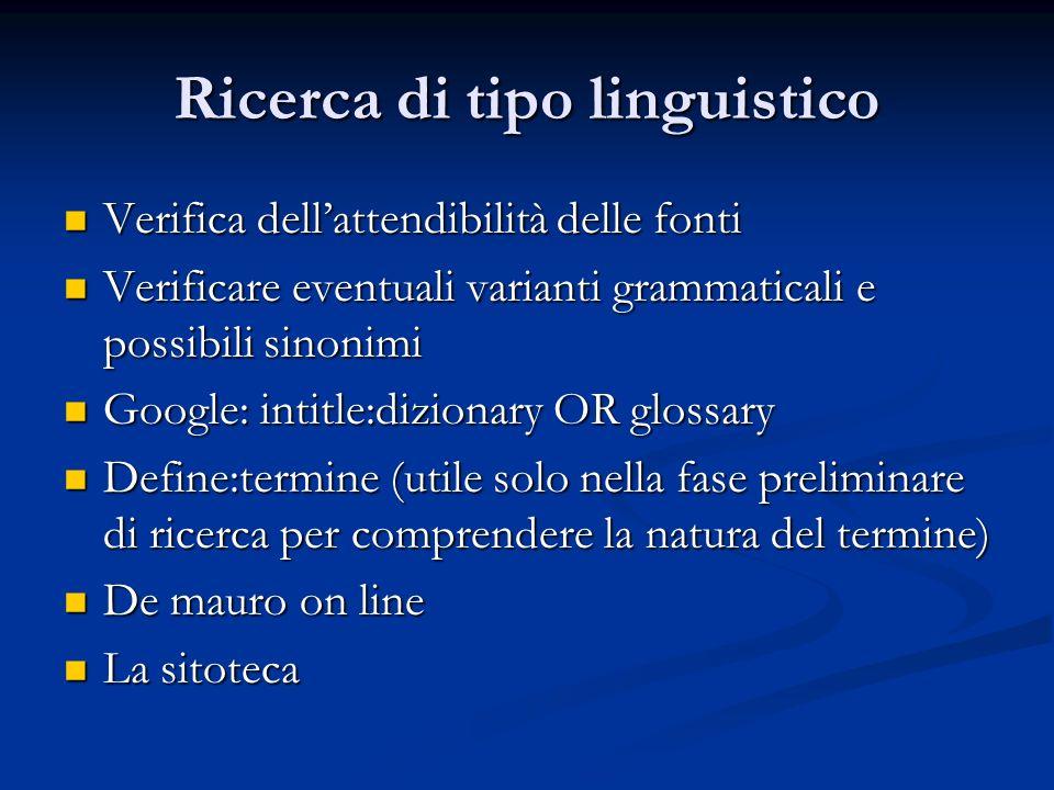 Ricerca di tipo linguistico