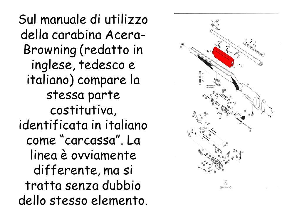 Sul manuale di utilizzo della carabina Acera-Browning (redatto in inglese, tedesco e italiano) compare la stessa parte costitutiva, identificata in italiano come carcassa .