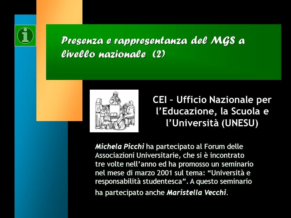 Presenza e rappresentanza del MGS a livello nazionale (2)
