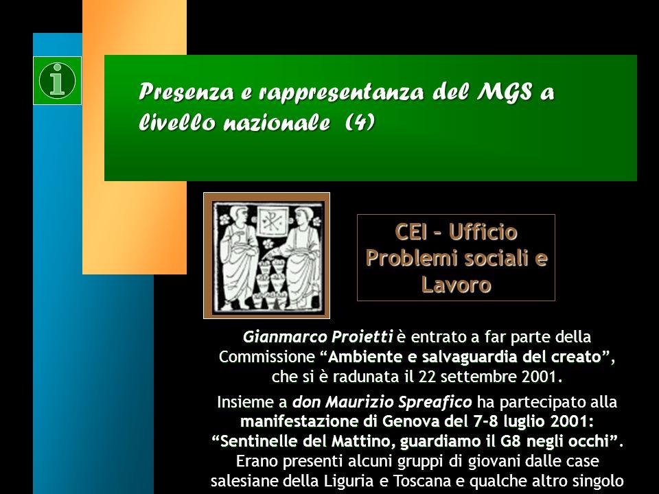 Presenza e rappresentanza del MGS a livello nazionale (4)