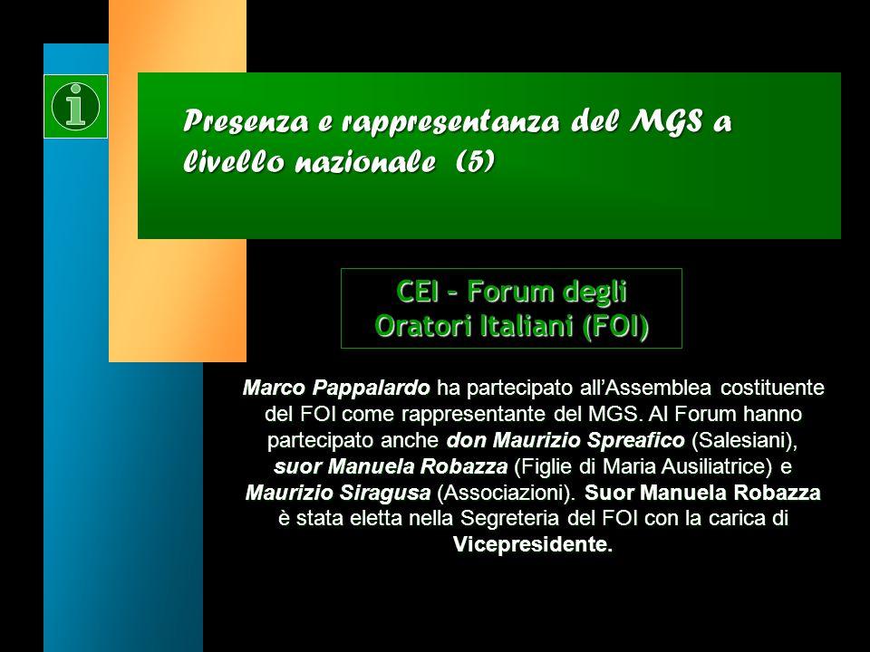 Presenza e rappresentanza del MGS a livello nazionale (5)