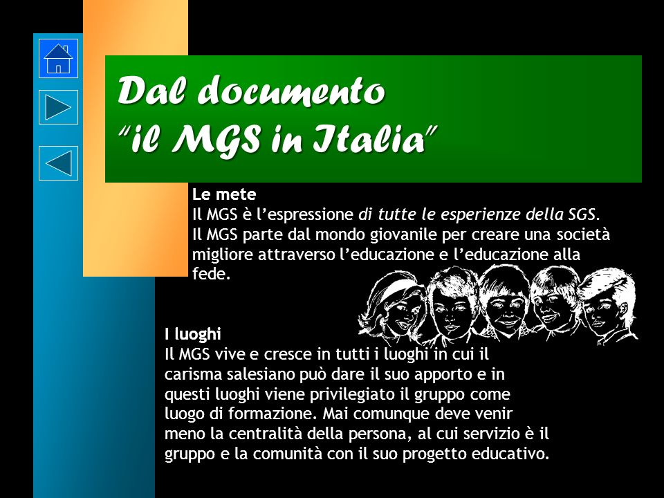 Dal documento il MGS in Italia