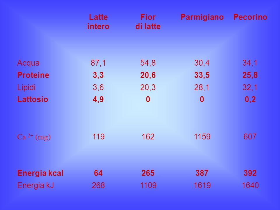 Latte intero. Fior. di latte. Parmigiano. Pecorino. Acqua. 87,1. 54,8. 30,4. 34,1. Proteine.