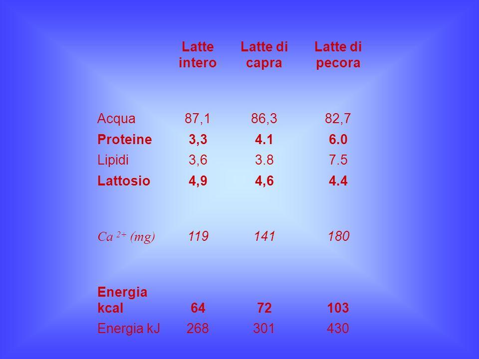 Latte intero Latte di capra. Latte di pecora. Acqua. 87,1. 86,3. 82,7. Proteine. 3,3. 4.1. 6.0.