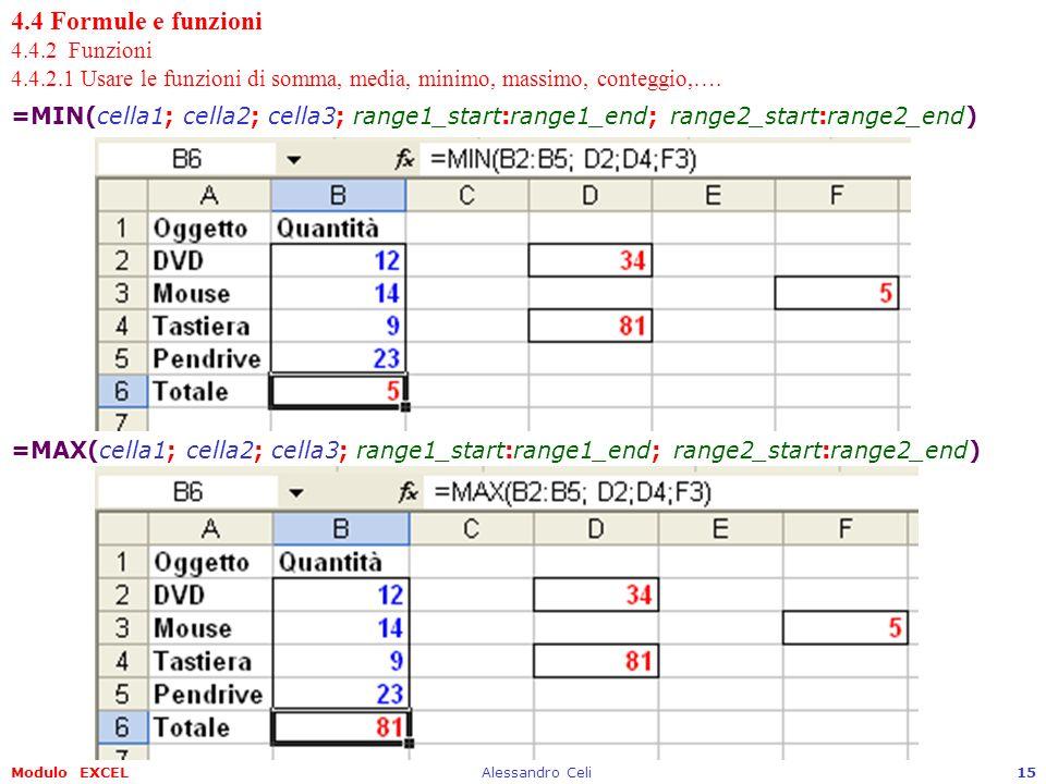 4. 4 Formule e funzioni 4. 4. 2 Funzioni 4. 4. 2