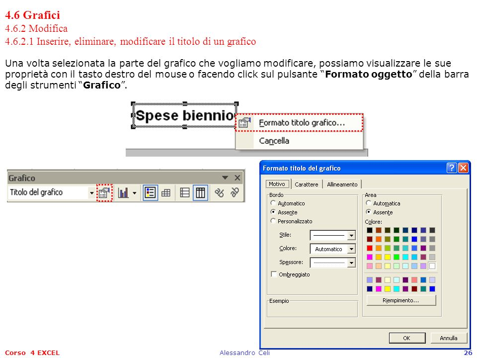 4.6 Grafici 4.6.2 Modifica 4.6.2.1 Inserire, eliminare, modificare il titolo di un grafico