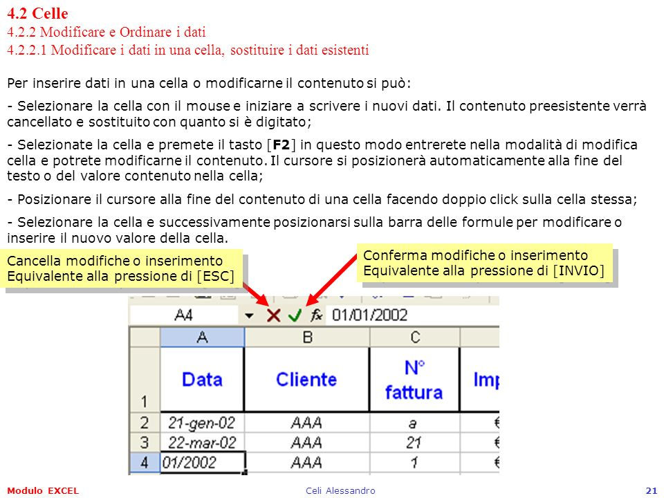 4. 2 Celle 4. 2. 2 Modificare e Ordinare i dati 4. 2. 2