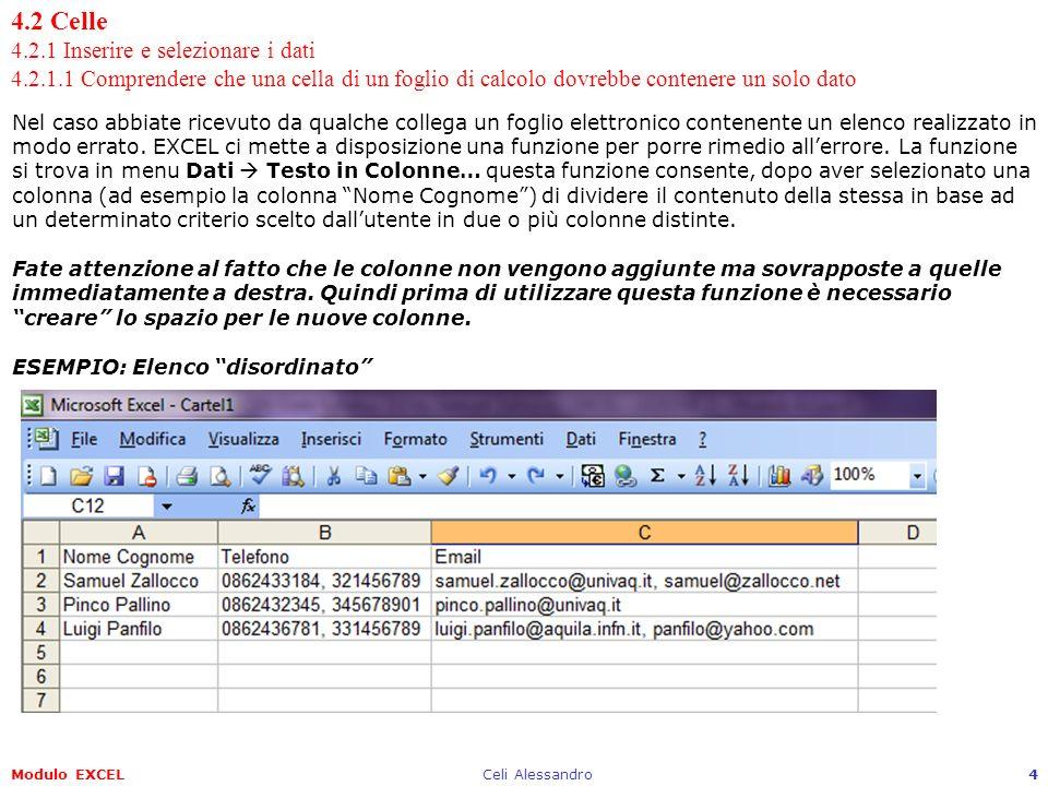 4. 2 Celle 4. 2. 1 Inserire e selezionare i dati 4. 2. 1
