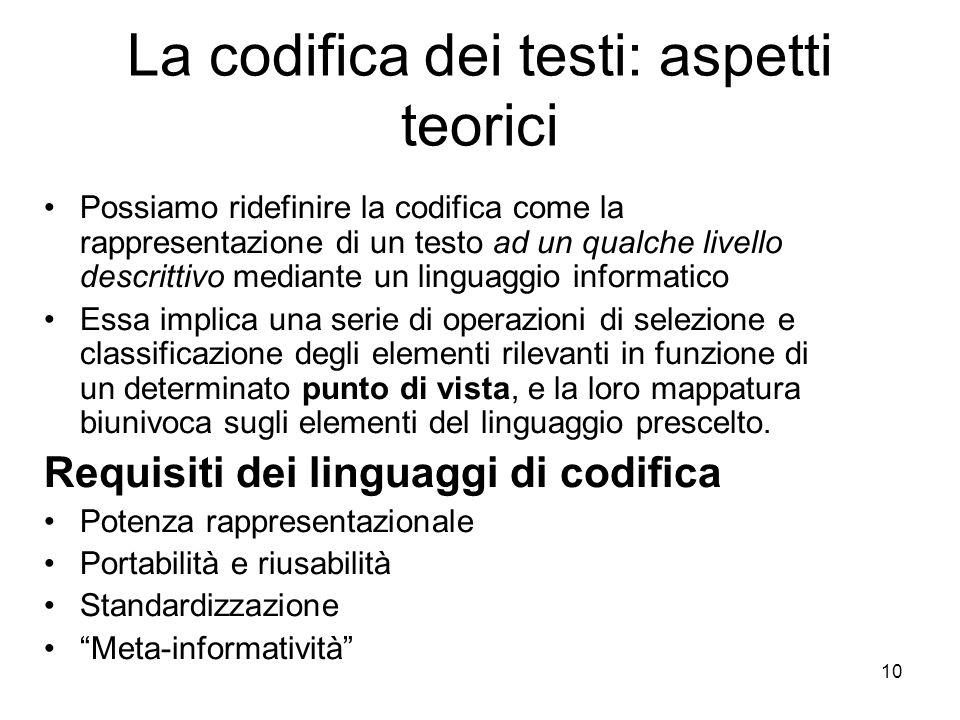 La codifica dei testi: aspetti teorici