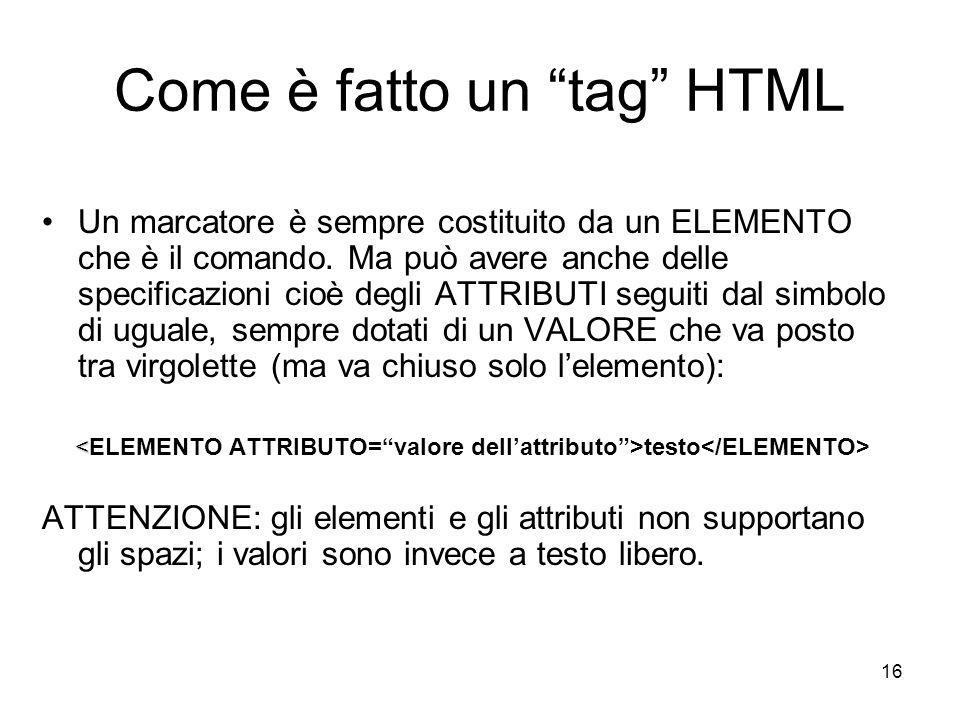 Come è fatto un tag HTML