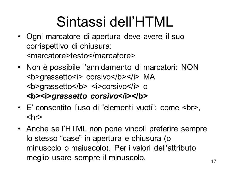 Sintassi dell'HTML Ogni marcatore di apertura deve avere il suo corrispettivo di chiusura: <marcatore>testo</marcatore>