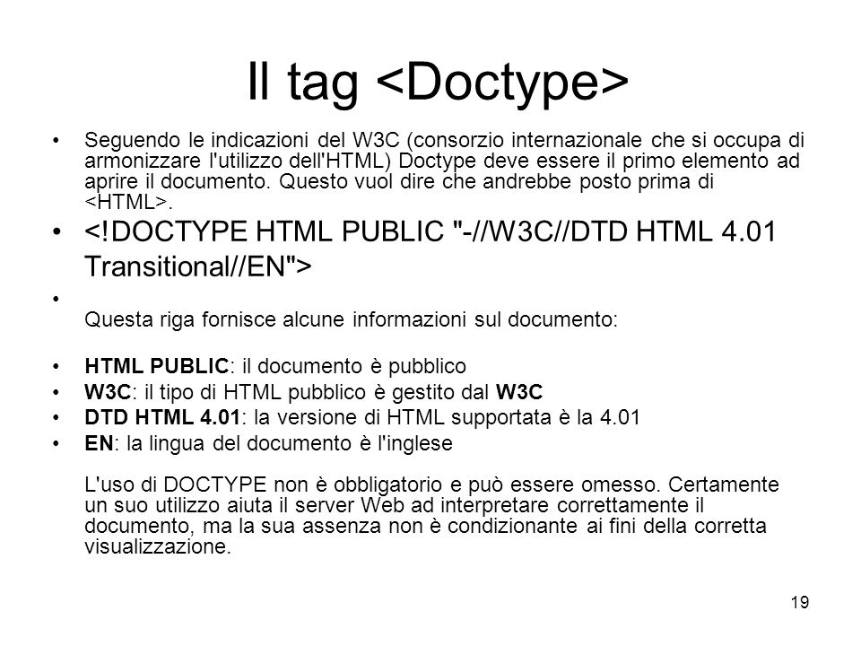 Il tag <Doctype>