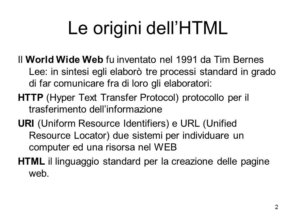 Le origini dell'HTML