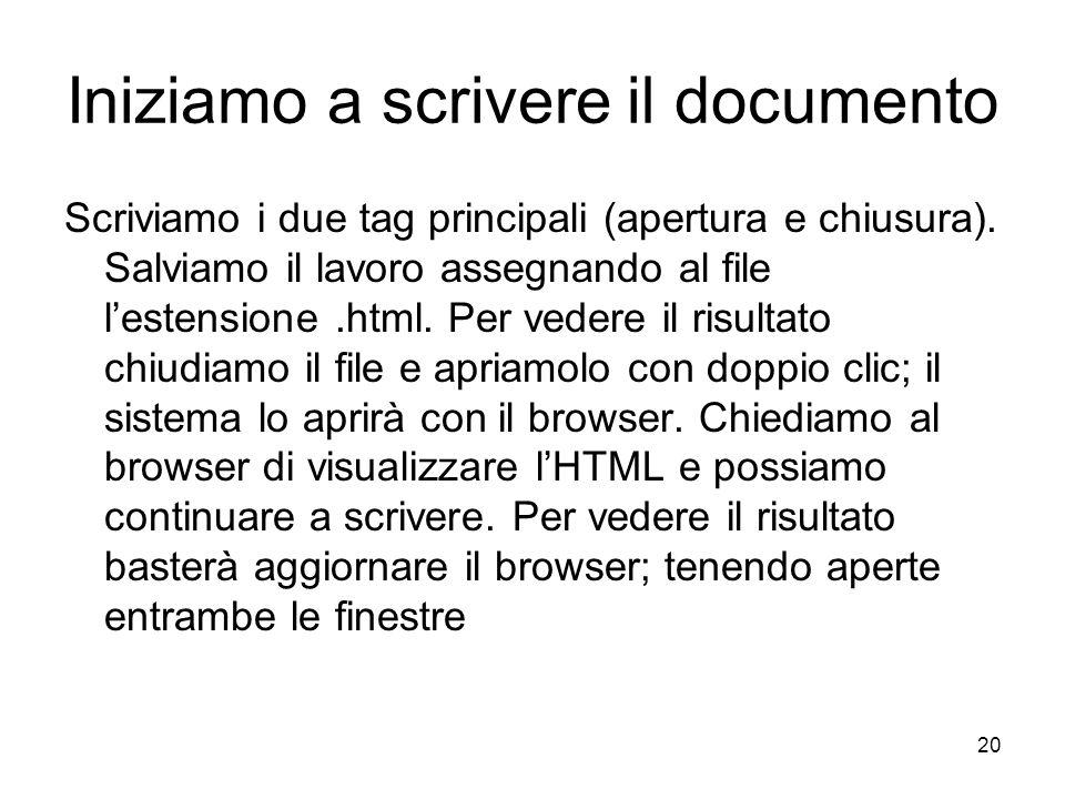 Iniziamo a scrivere il documento