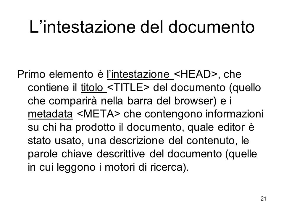 L'intestazione del documento