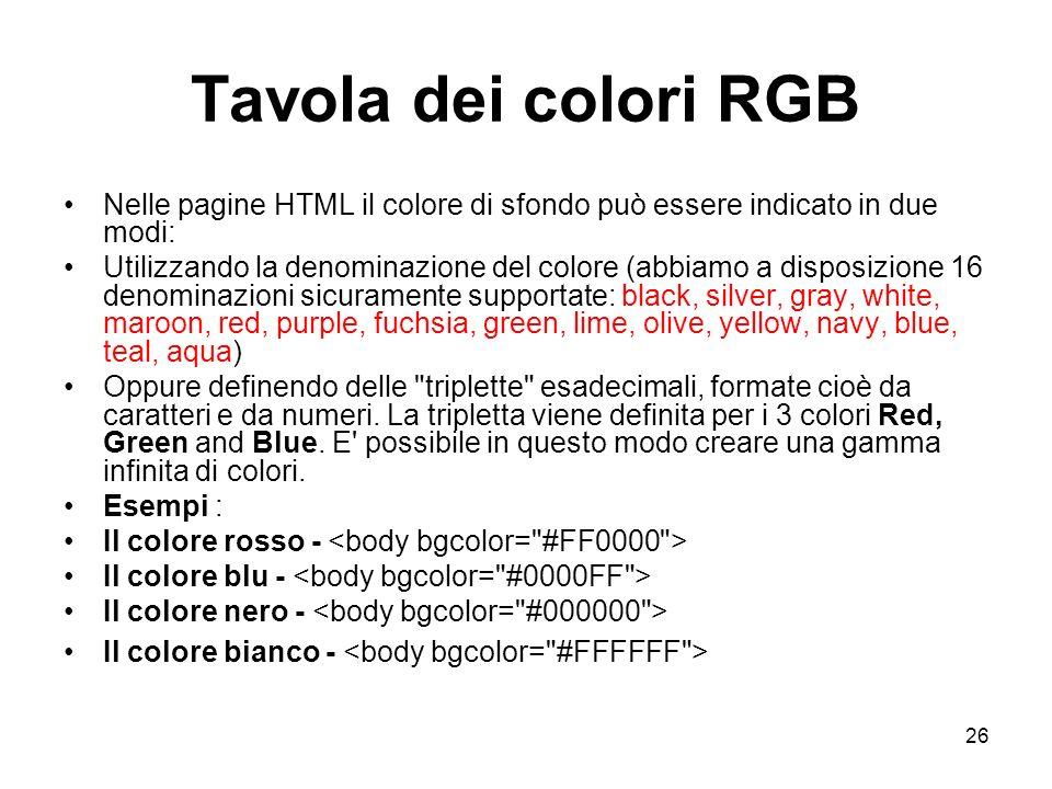 Tavola dei colori RGB Nelle pagine HTML il colore di sfondo può essere indicato in due modi:
