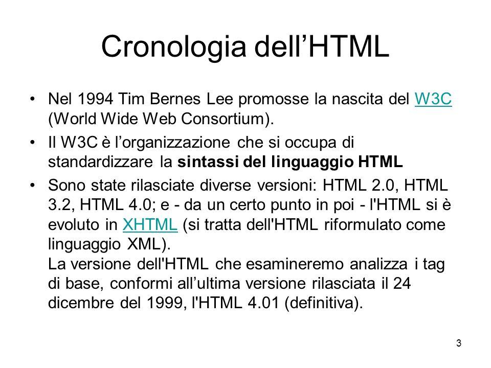 Cronologia dell'HTML Nel 1994 Tim Bernes Lee promosse la nascita del W3C (World Wide Web Consortium).