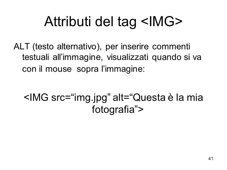 Attributi del tag <IMG>
