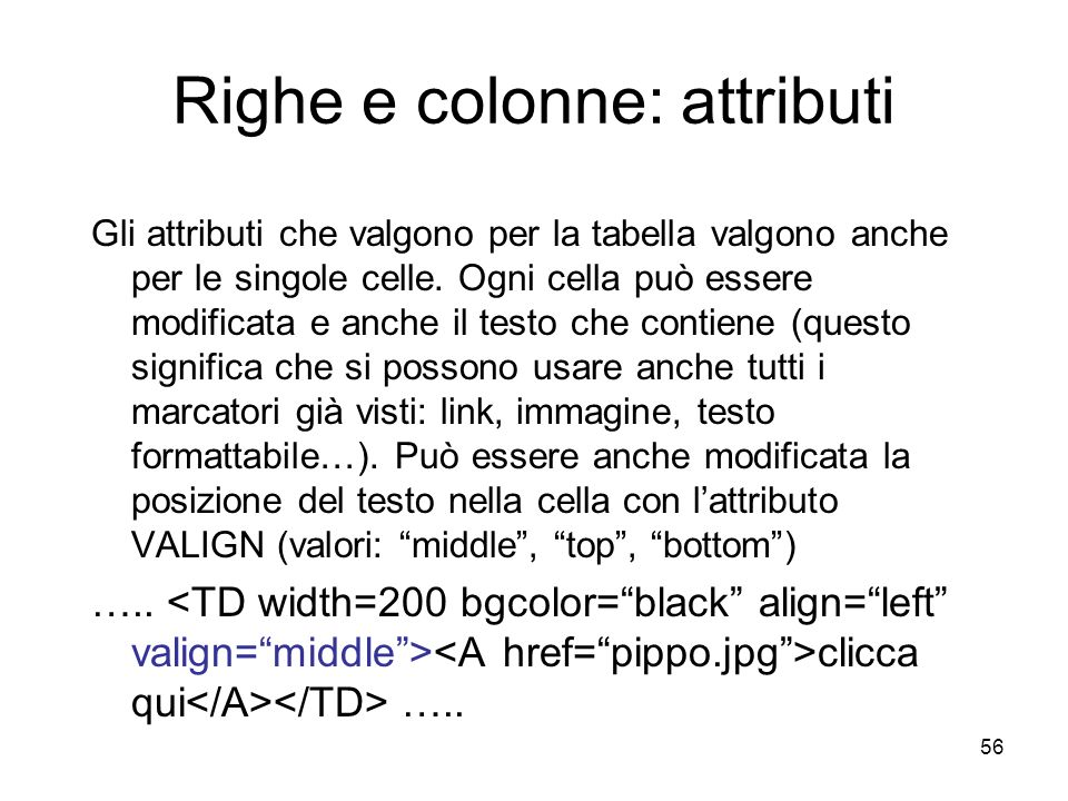 Righe e colonne: attributi