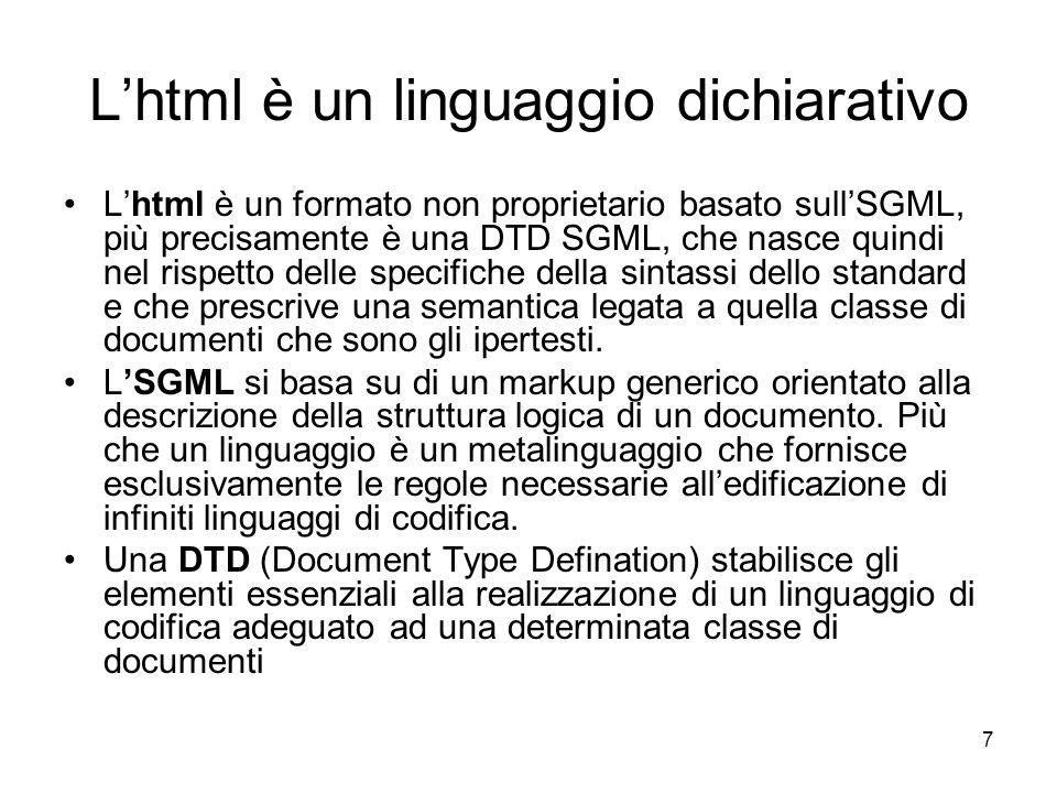 L'html è un linguaggio dichiarativo