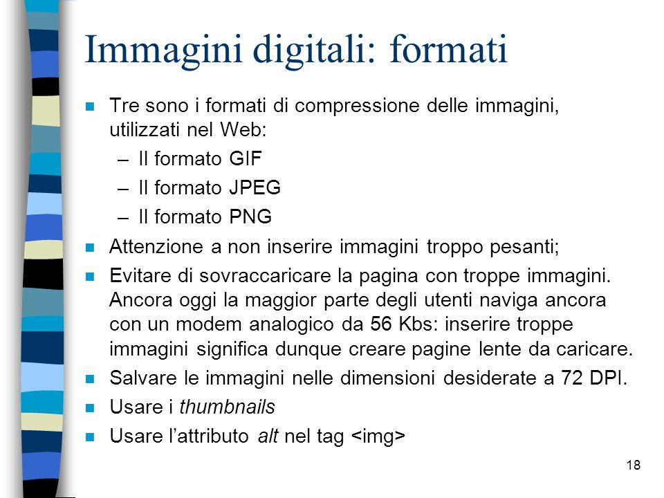 Immagini digitali: formati
