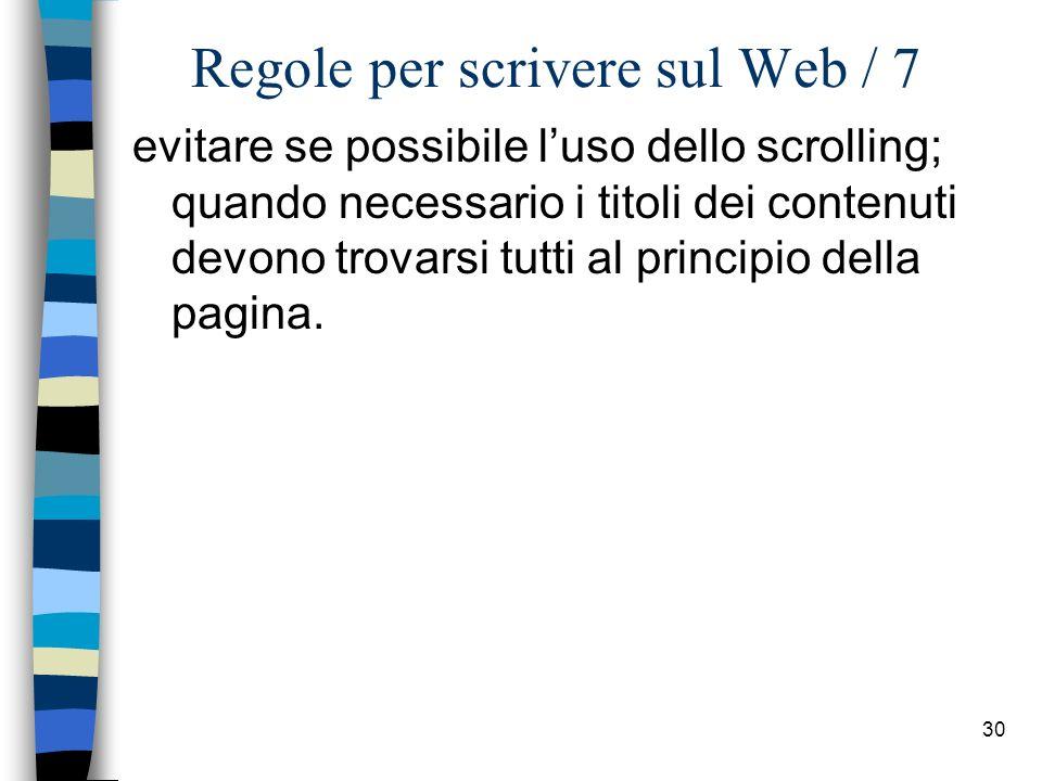 Regole per scrivere sul Web / 7