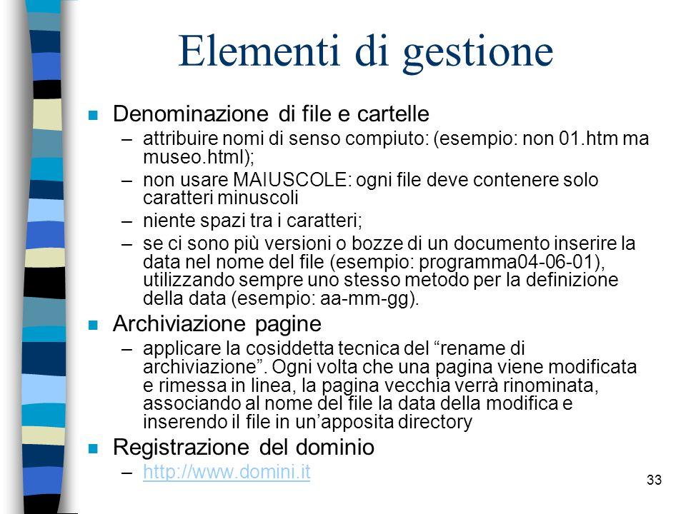 Elementi di gestione Denominazione di file e cartelle