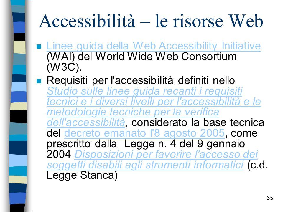 Accessibilità – le risorse Web