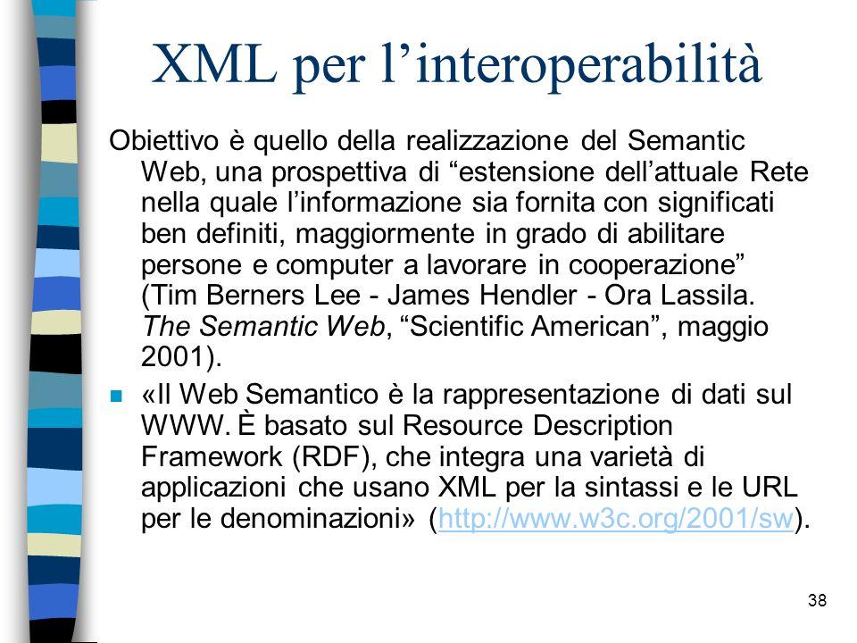 XML per l'interoperabilità