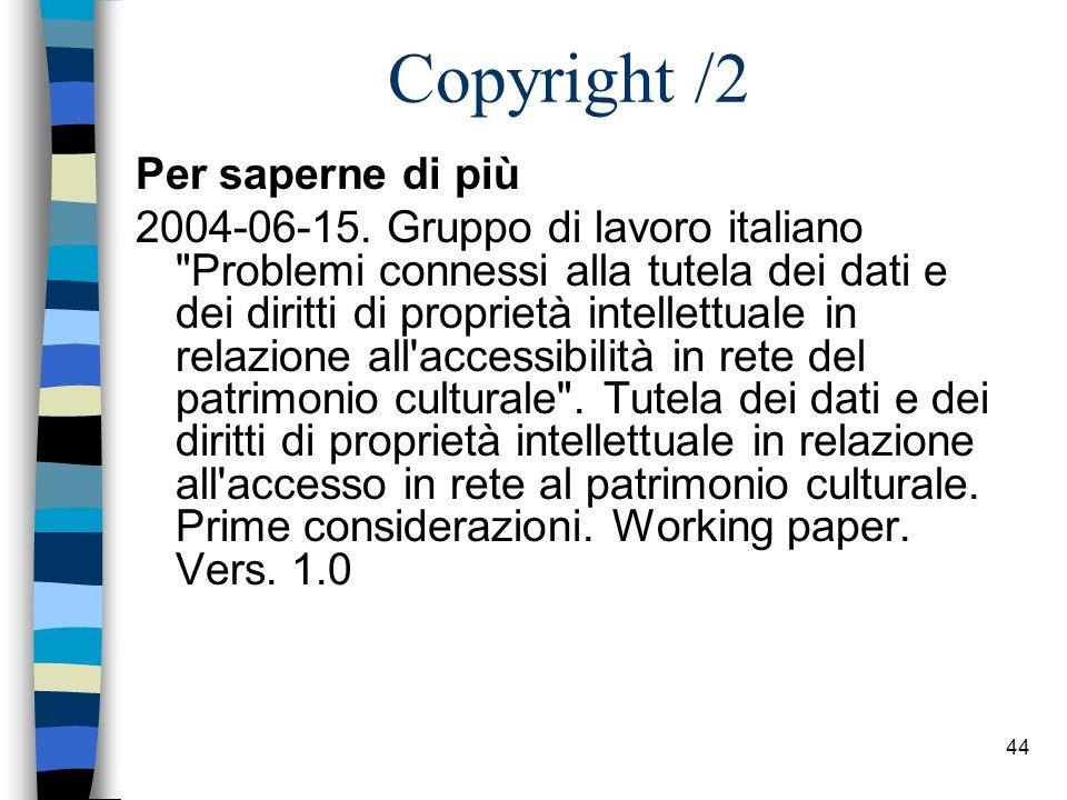 Copyright /2 Per saperne di più
