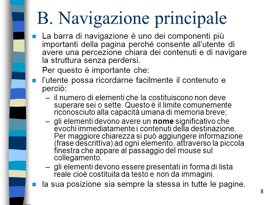 B. Navigazione principale