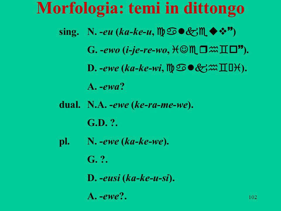 Morfologia: temi in dittongo