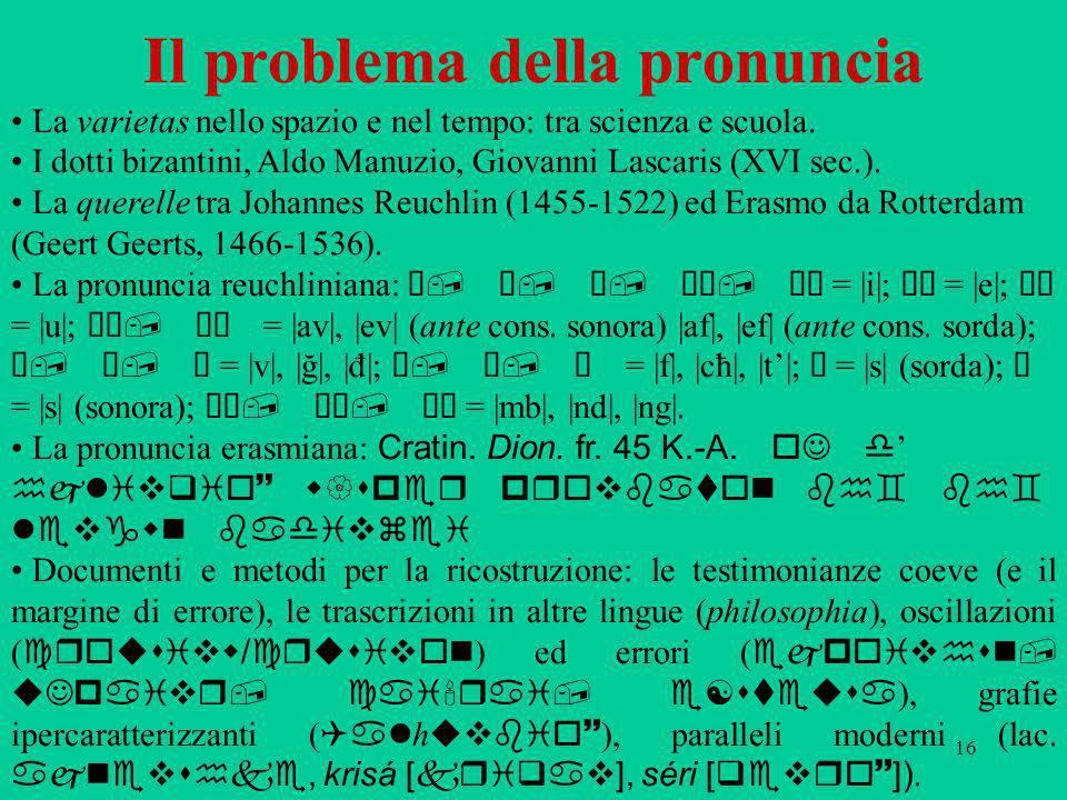Il problema della pronuncia