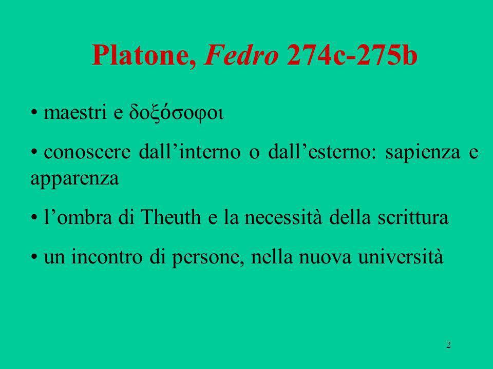 Platone, Fedro 274c-275b maestri e δοξόσοφοι